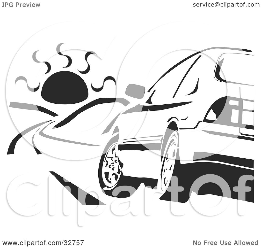 Clipart Illustration Of A Black And White Honda Accord