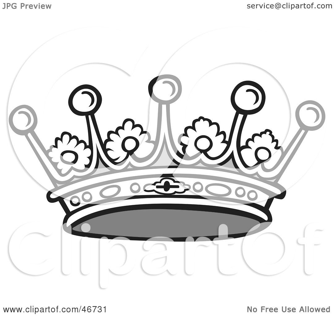 Clipart Illustration of a Black And White Jeweled Crown With Floral    Queen Crown Drawing Black And White