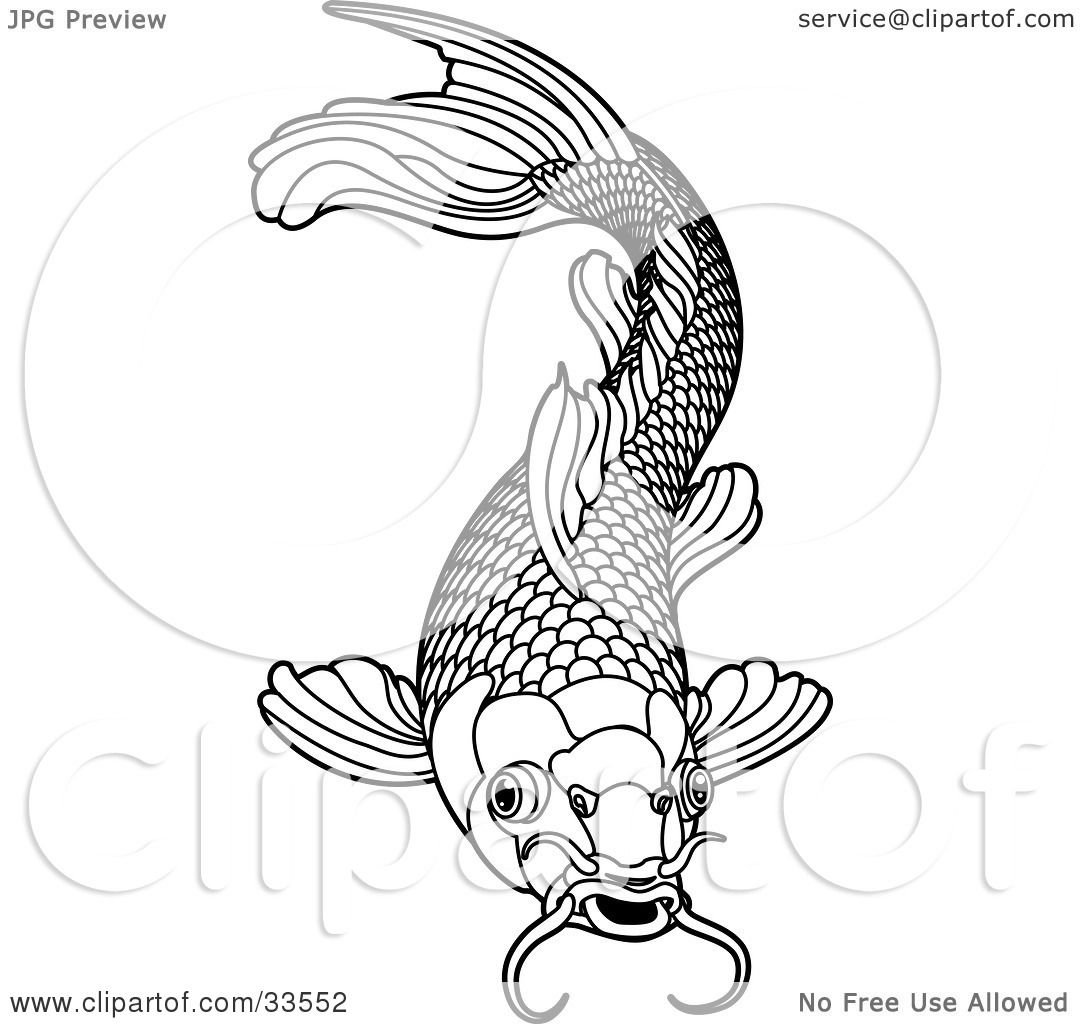 Clipart illustration of a black and white koi fish with for Black white koi