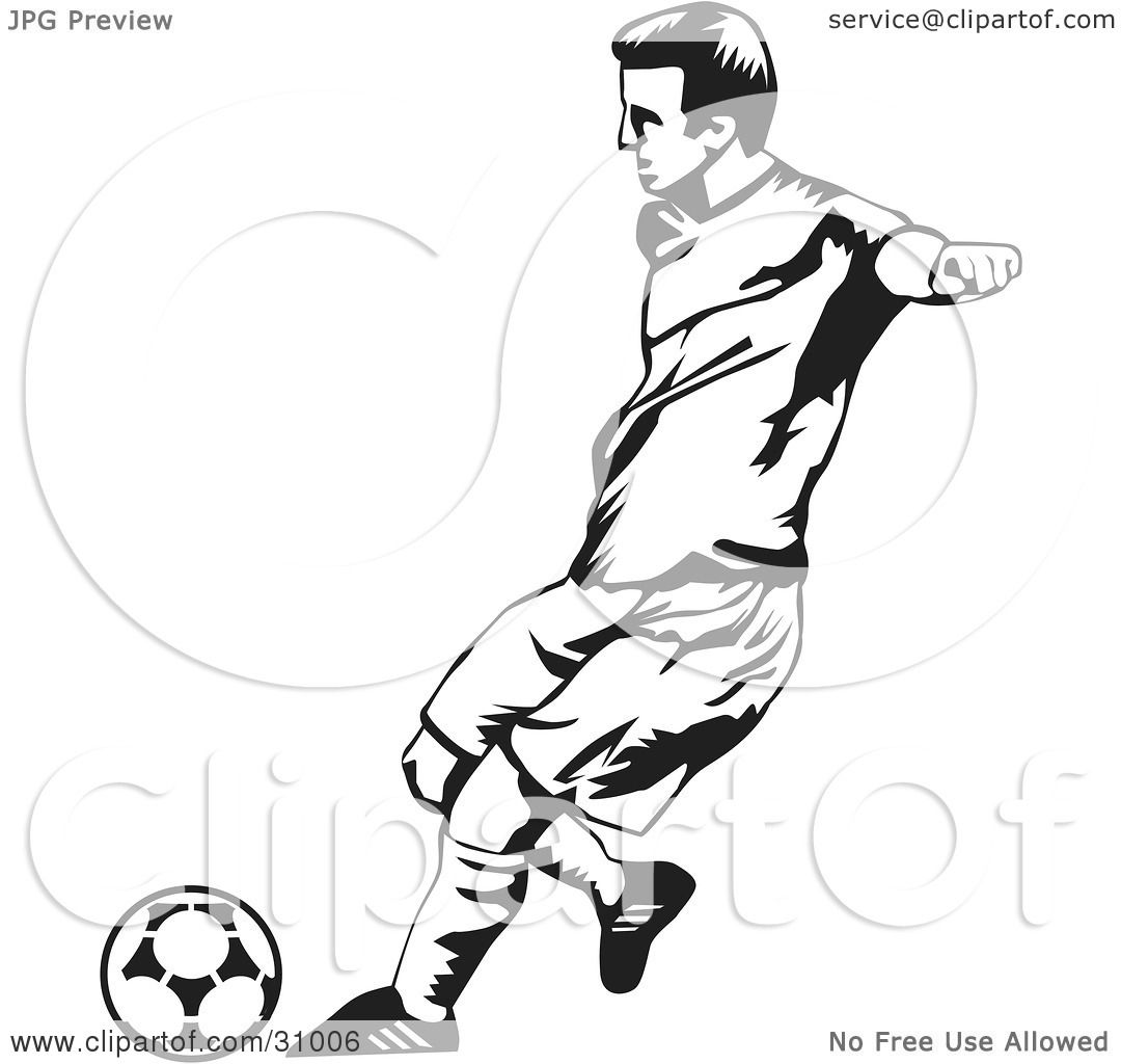 Clipart Illustration of a Black And White Male Soccer ...