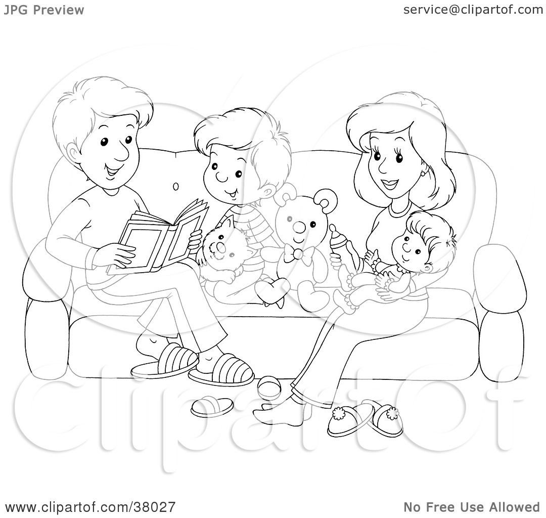 clipart illustration of a black and white outline of a