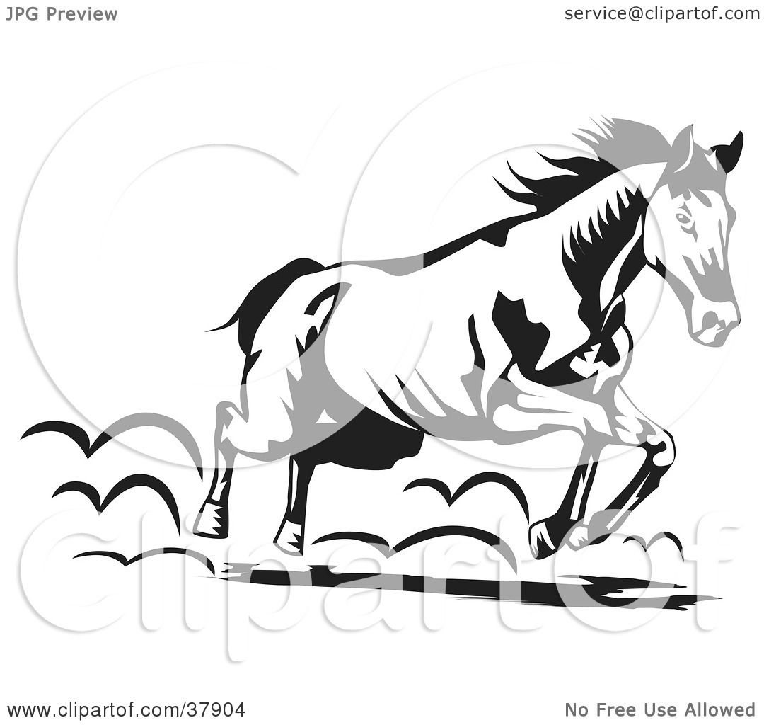 Clipart Illustration of a Black And White Running Horse by David ...
