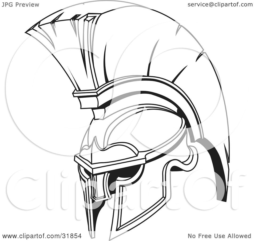 spartan coloring pages - clipart illustration of a black and white spartan or