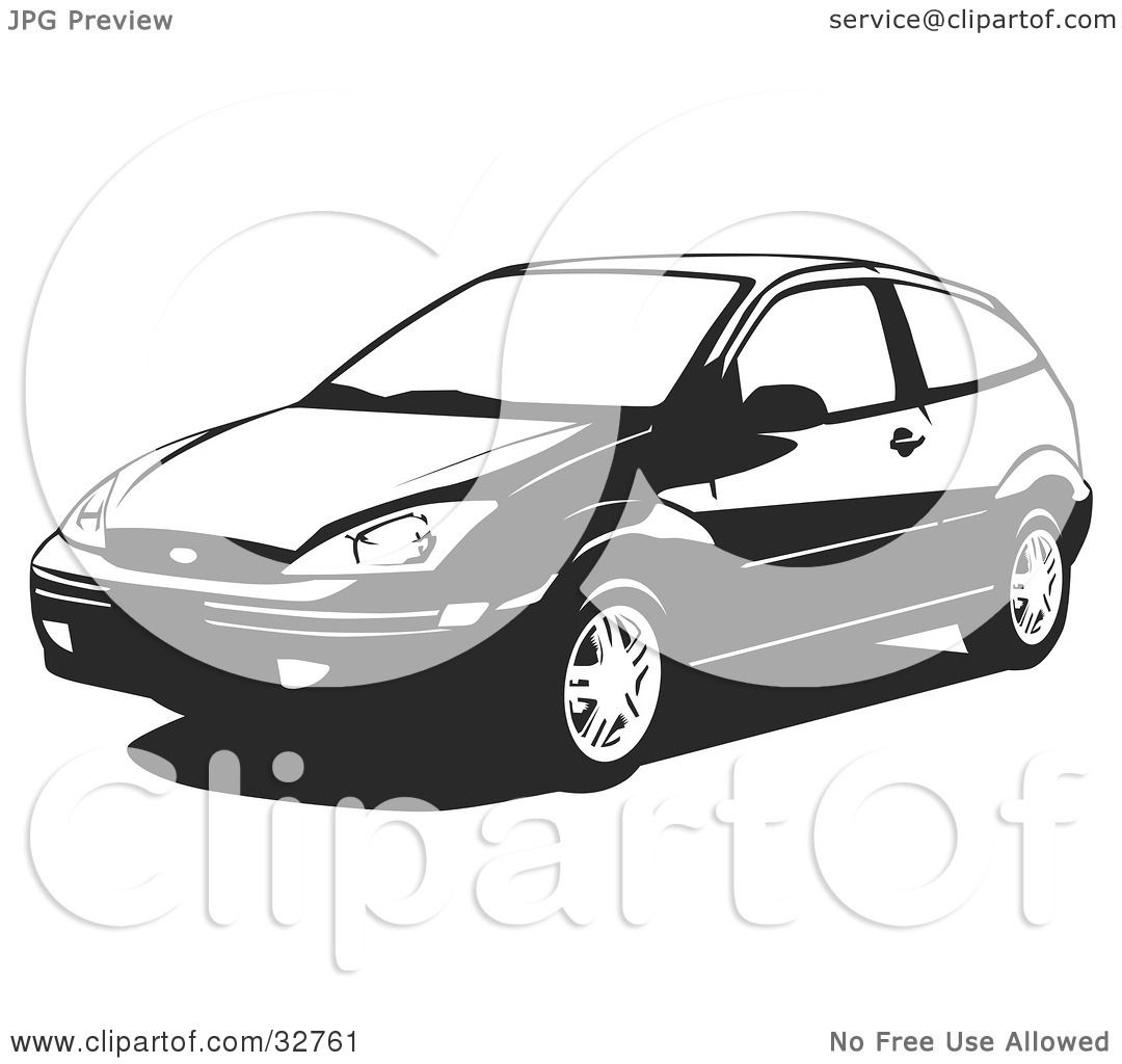 Black And White Ford: Clipart Illustration Of A Black And White Two Door Ford
