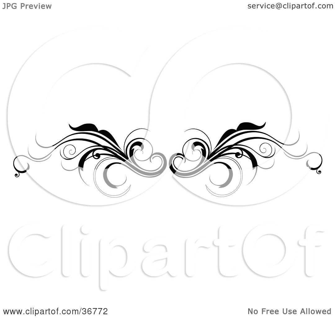 clipart illustration of a black and white vine lower back tattoo design or flourish resembling. Black Bedroom Furniture Sets. Home Design Ideas