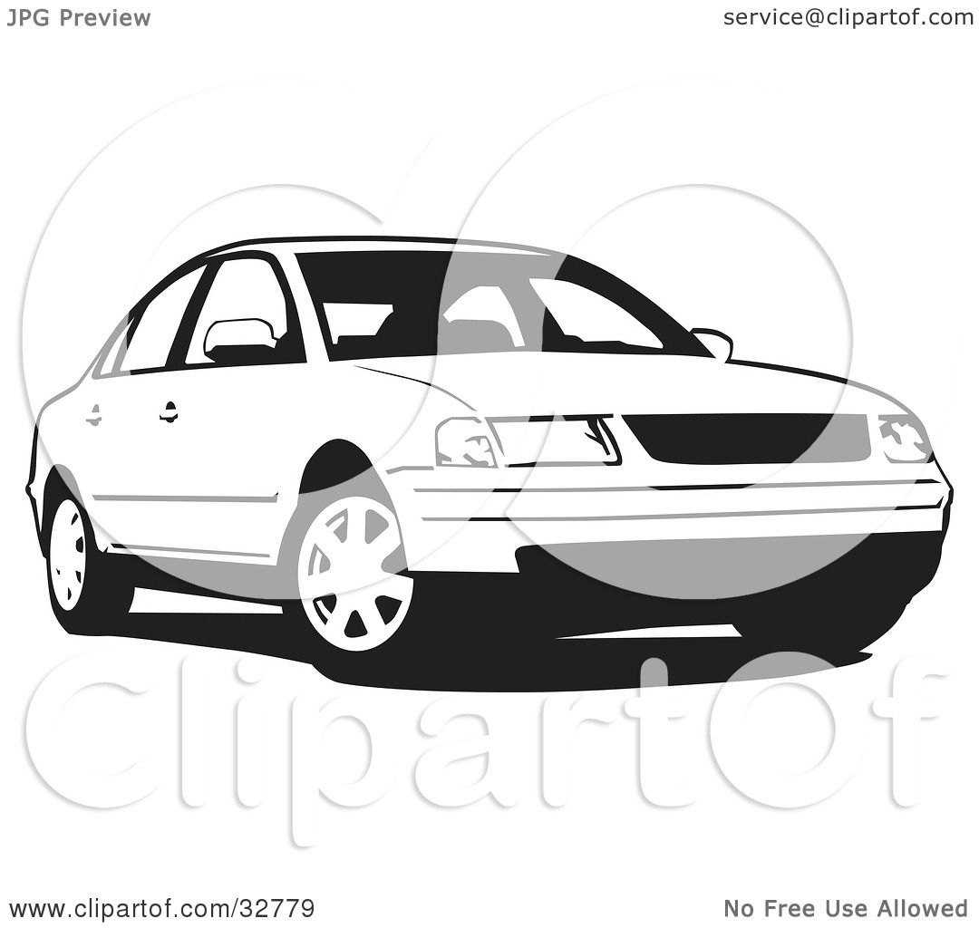 Clipart Illustration of a Black And White Volkswagen ...