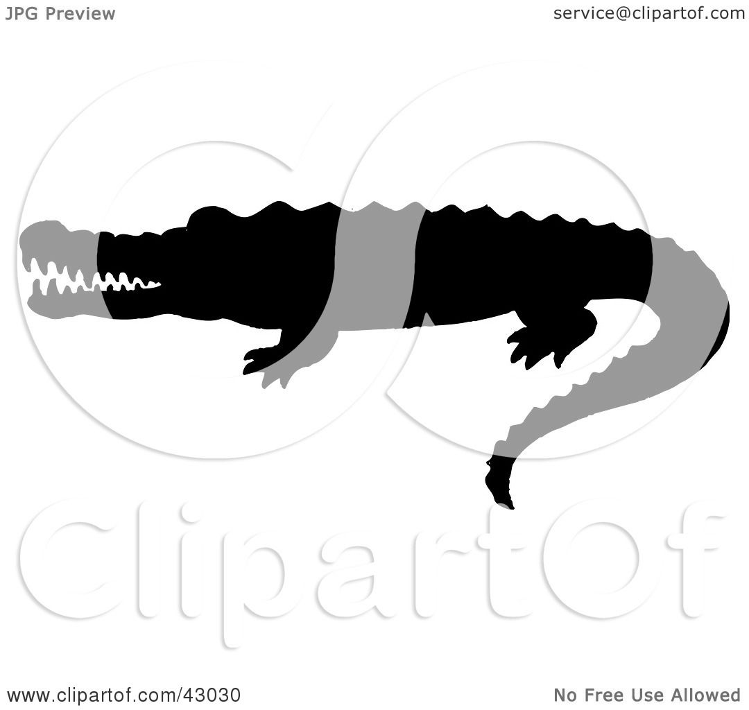 Clipart Illustration Of A Black Crocodile Silhouette By