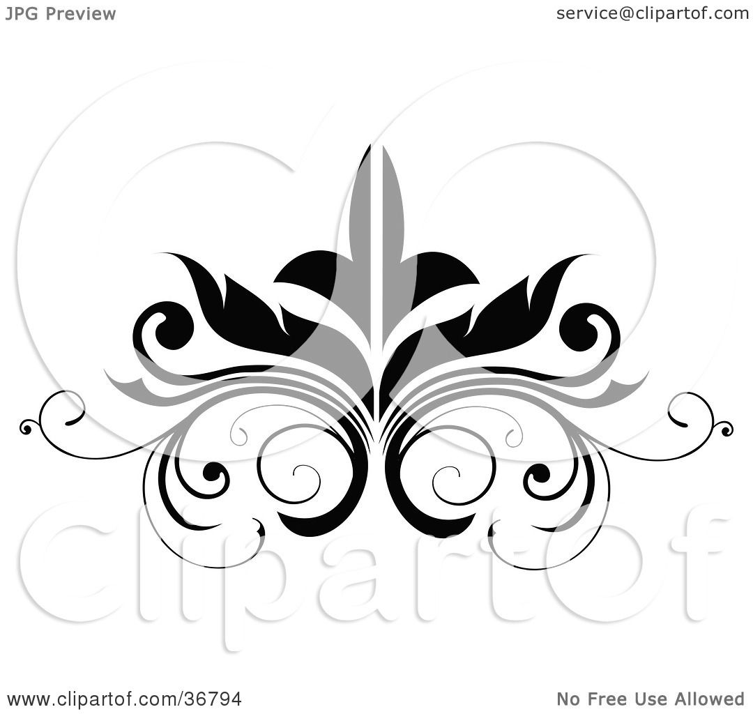 Clipart Illustration of a Black Embellishment Design by ...