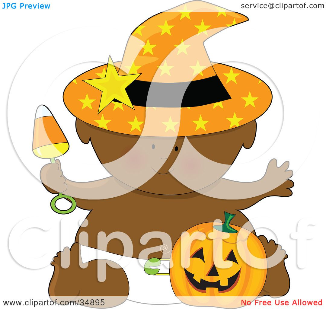 Clipart Illustration Of A Black Halloween Baby In A Diaper