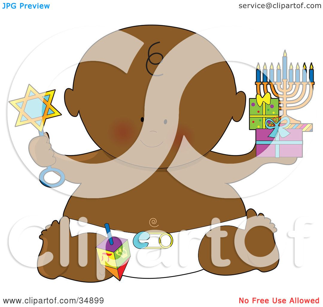 Clipart Illustration of a Black Hanukkah Baby In A Diaper ...