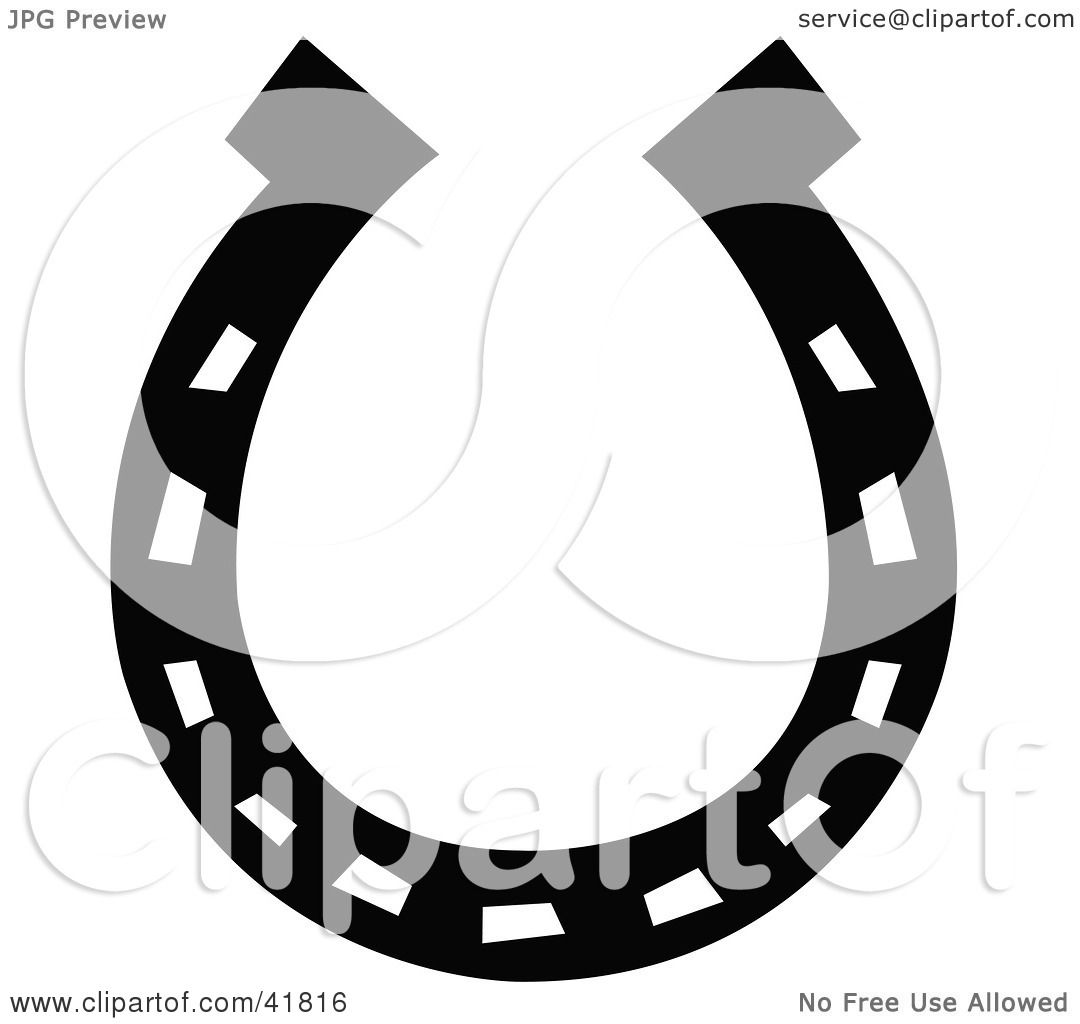 Clipart Illustration of a Black Lucky Horse Shoe by Andy