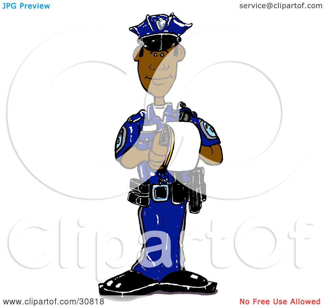 clipart illustration of a black male cop in a blue uniform standing rh clipartof com traffic cop clipart free