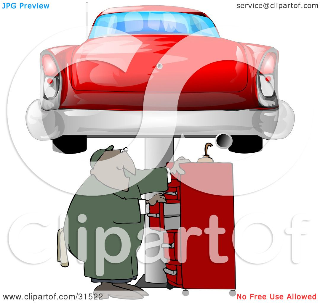 Clipart Illustration of a Black Male Mechanic Looking For Tools In A ...