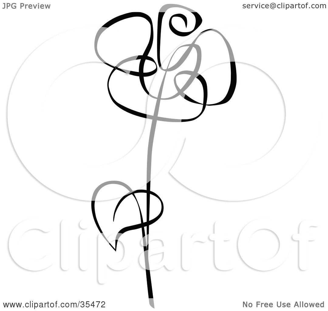 Single Black Rose Clip Art