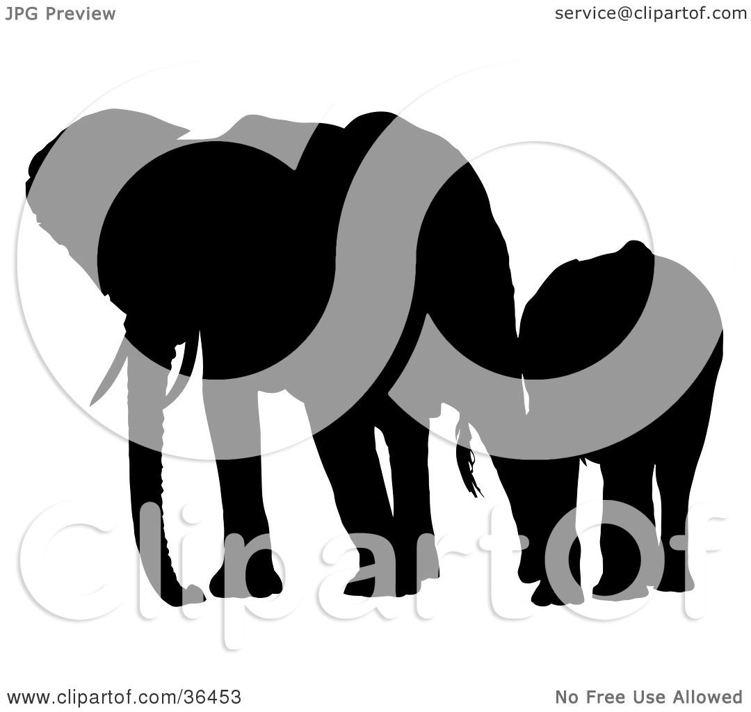 Clipart Illustration of a Black Silhouetted Adult Elephant Leading ...