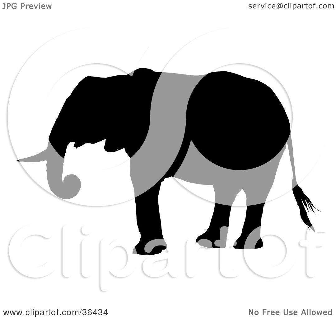 Clipart Illustration of a Black Silhouetted Adult Elephant ...