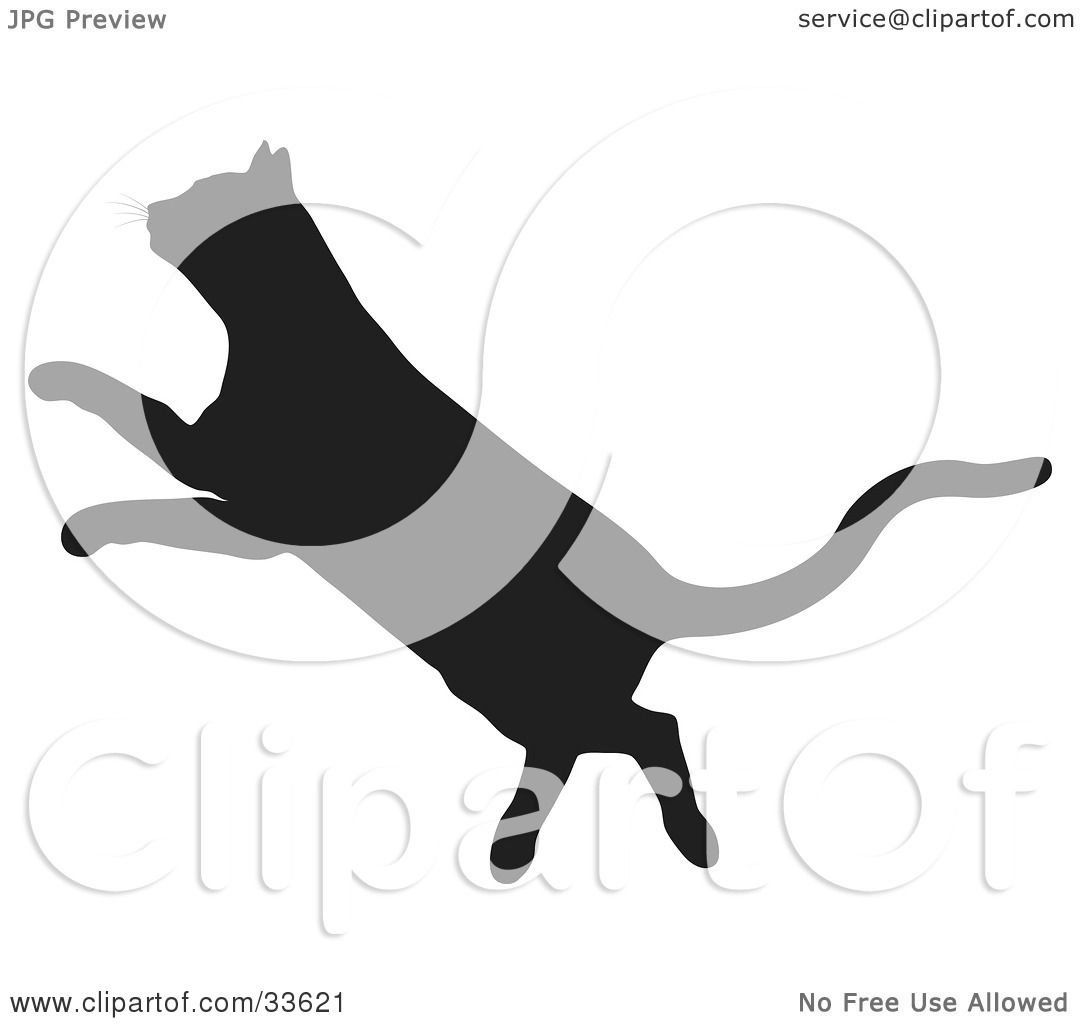 Clipart Illustration of a Black Silhouetted Feline Leaping In ...