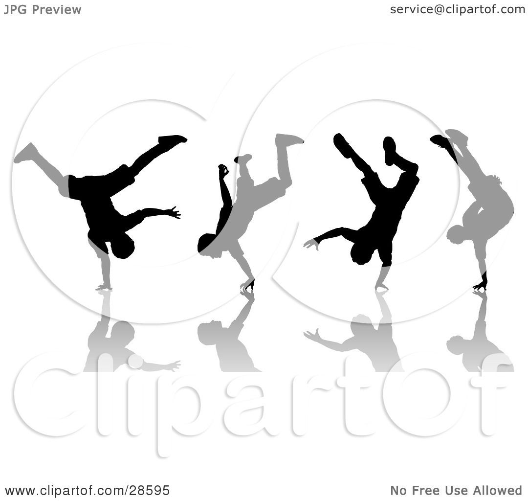 Clipart Illustration of a Black Silhouetted Man Break Dancing ...