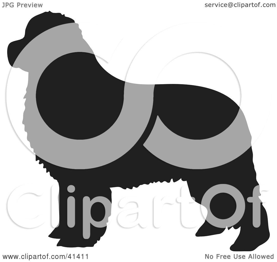 clipart illustration of a black silhouetted newfoundland dog profile by prawny 41411. Black Bedroom Furniture Sets. Home Design Ideas