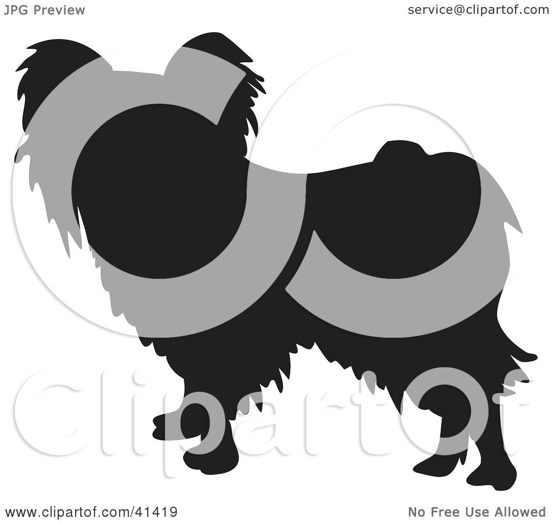 Clipart Illustration Of A Black Silhouetted Papillon Dog