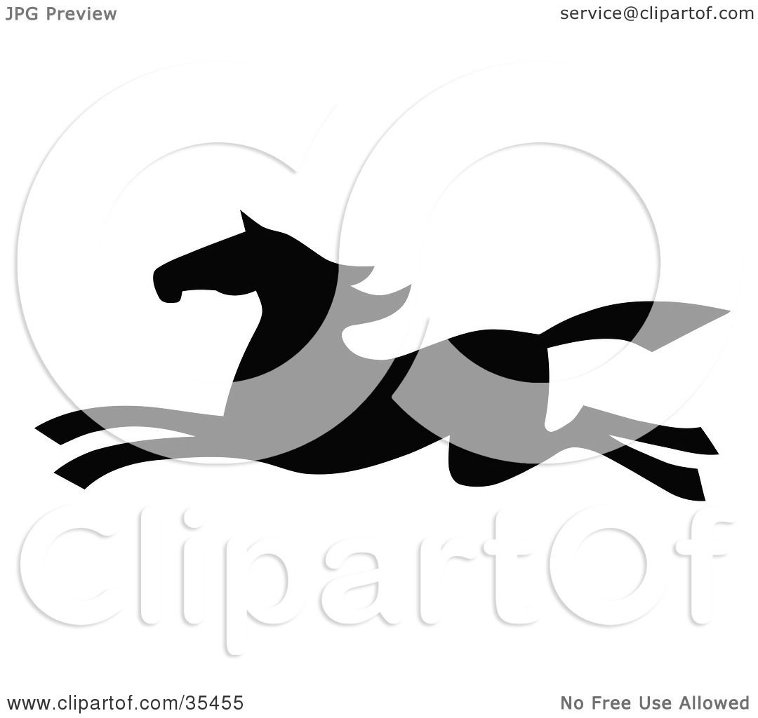 Clipart Illustration Of A Black Silhouetted South Western Styled Horse Running Left By C Charley Franzwa