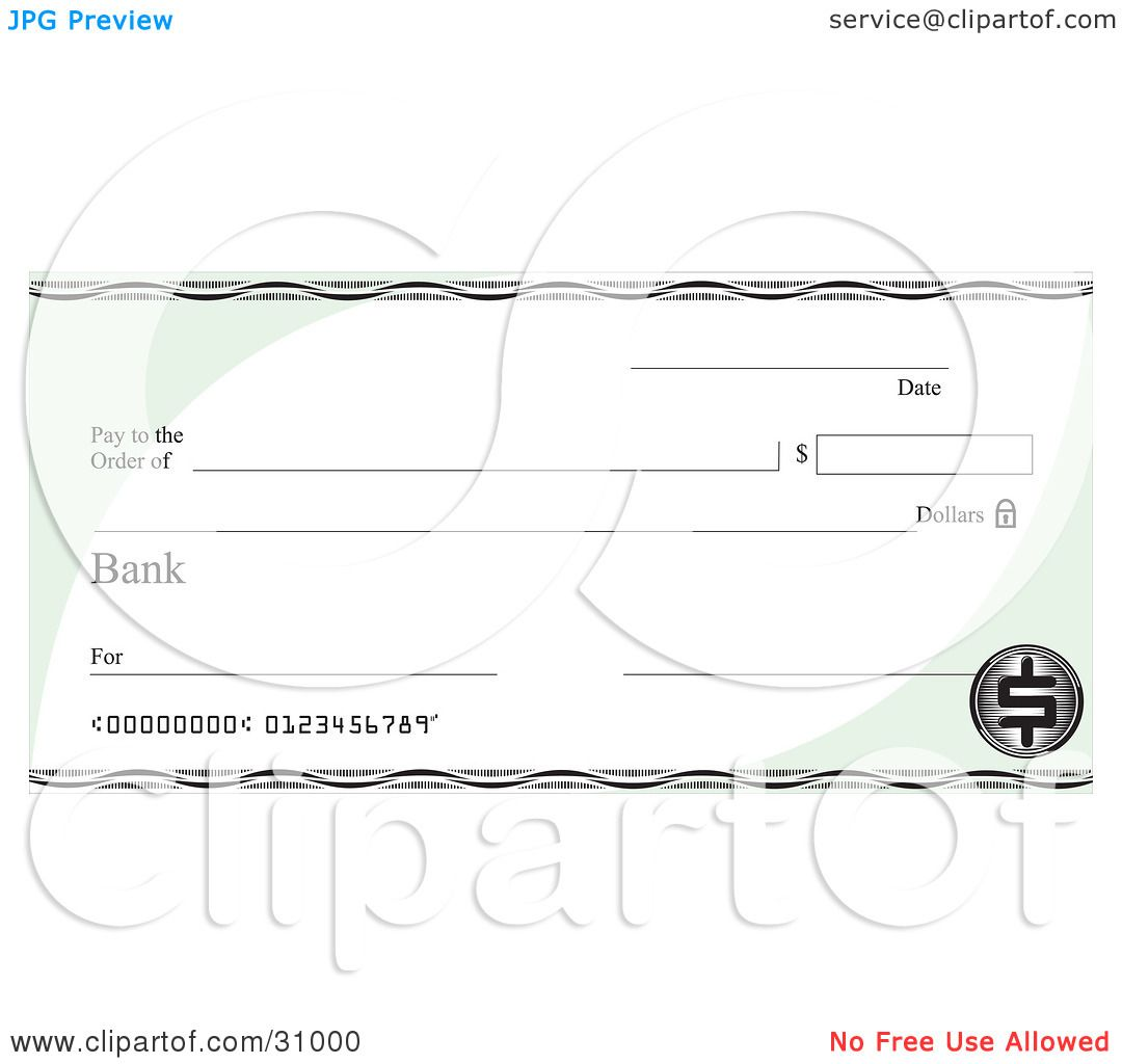 Clipart Illustration Of A Blank Bank Check With Green Corners And A