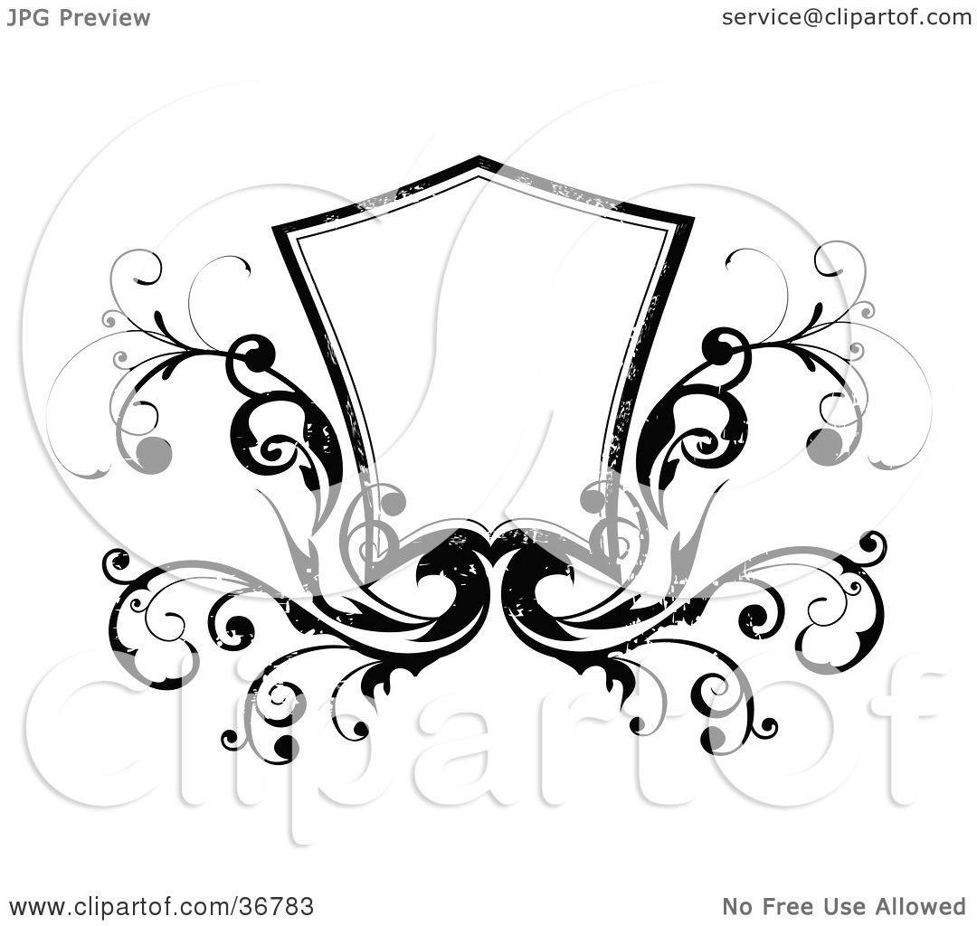 Clipart Illustration of a Blank Black And White Shield With Vines ...
