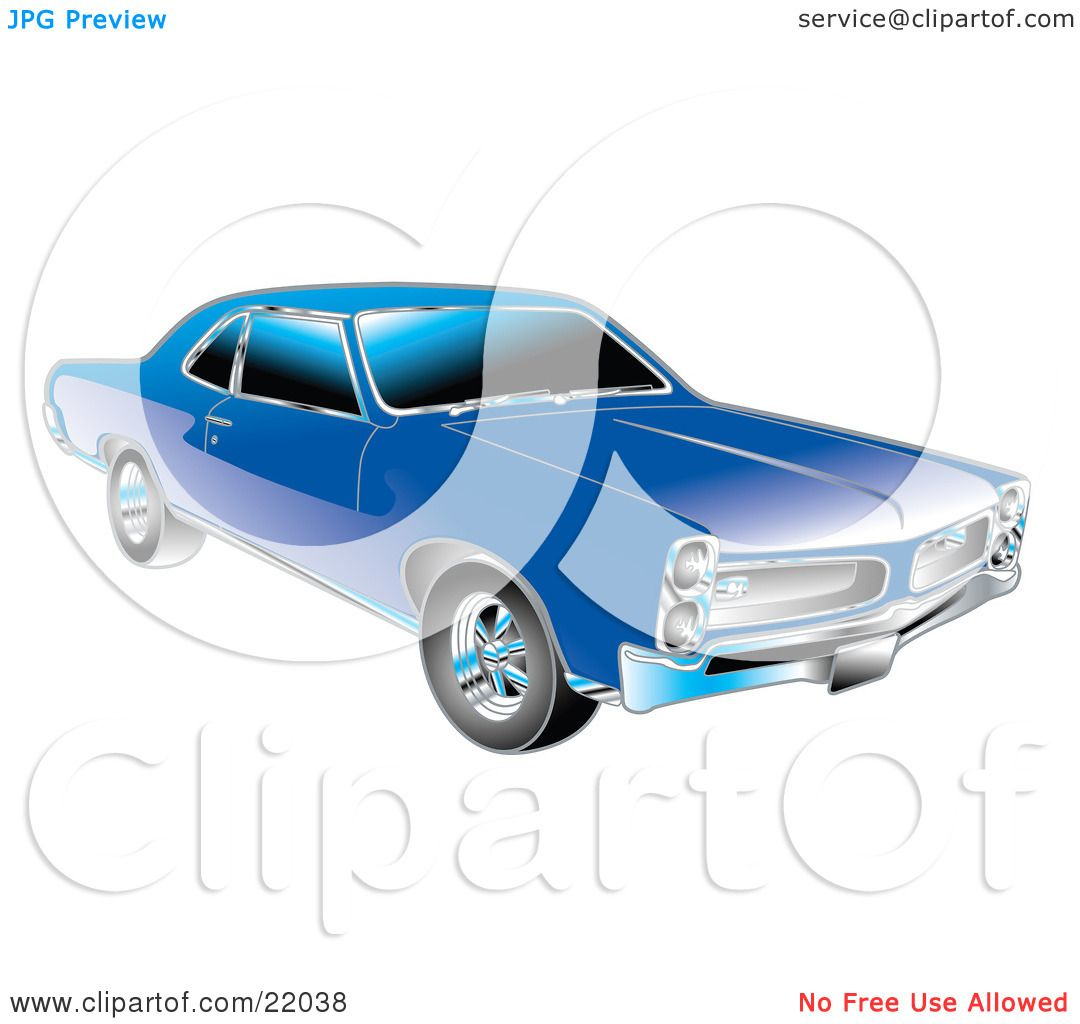 clipart illustration of a blue 1966 pontiac gto muscle car with crhome detailing on the front. Black Bedroom Furniture Sets. Home Design Ideas