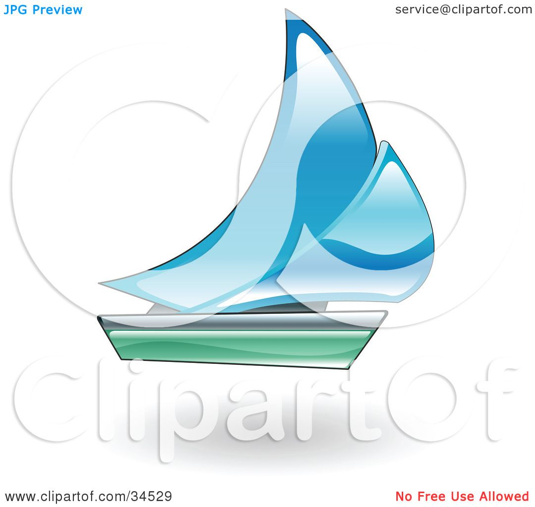 Clipart Illustration of a Blue And Green Sailboat by Geo ...