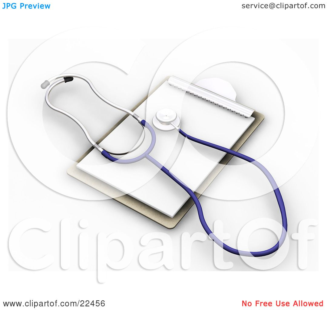 Clipart Illustration of a Blue And Silver Veterinarian Or ... Doctor Stethoscope Graphic