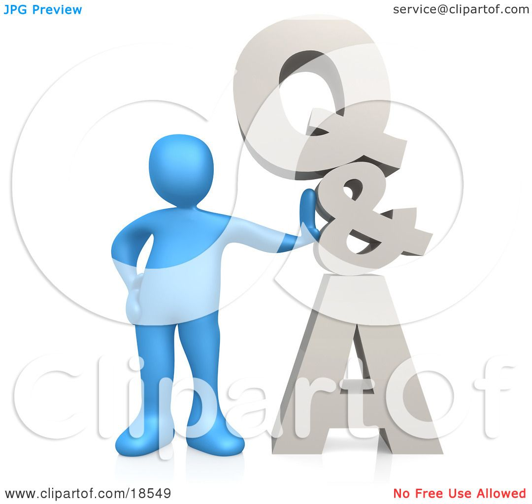 clipart illustration of a blue person leaning against q a which clipart illustration of a blue person leaning against q a which could be used as an icon to direct web customers to questions and answers by 3pod