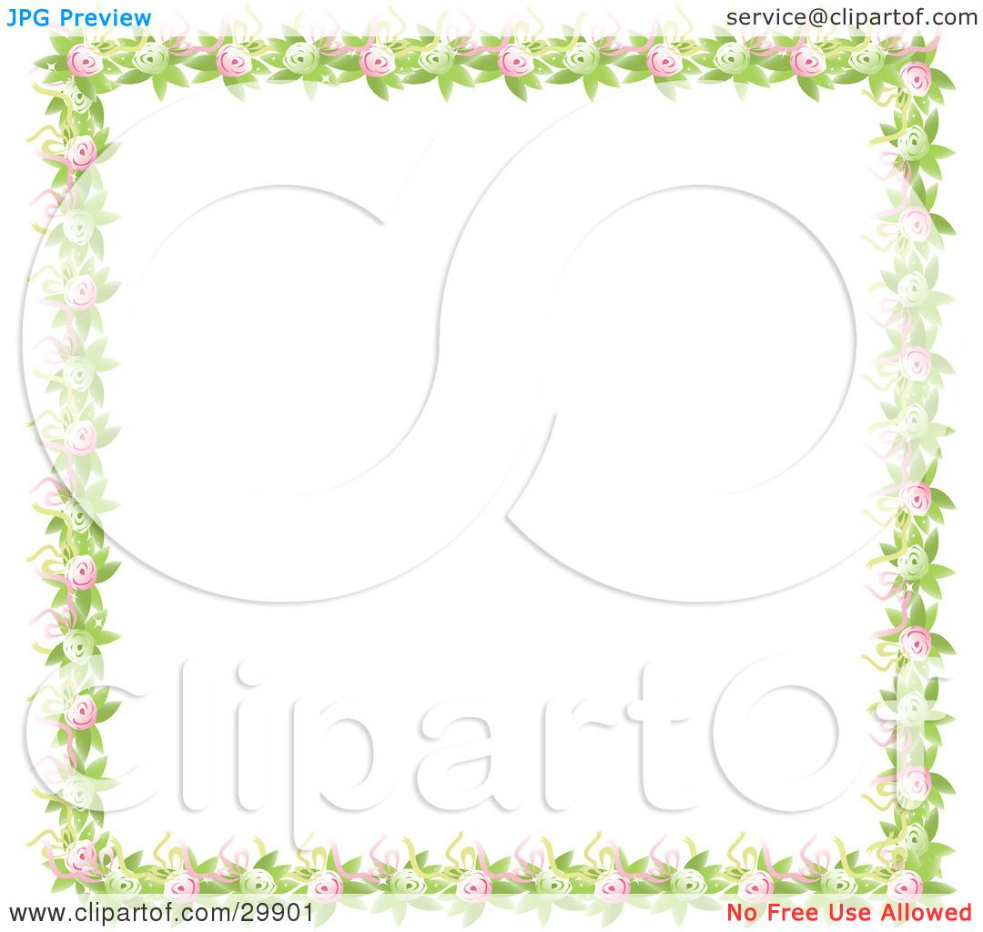 Clipart Illustration of a Border Of Green Leaves, Pink And ...