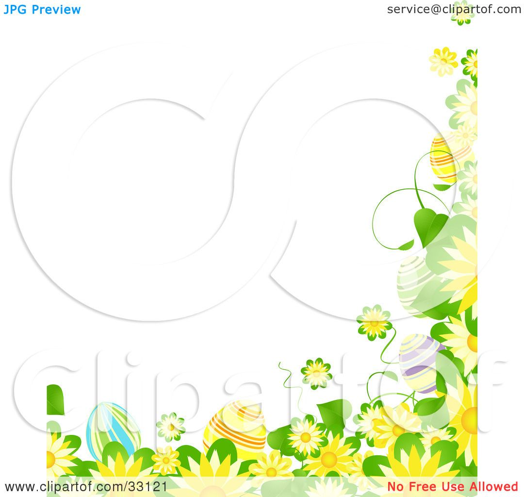 Clipart Illustration of a Yellow Flowers Clip Art Border