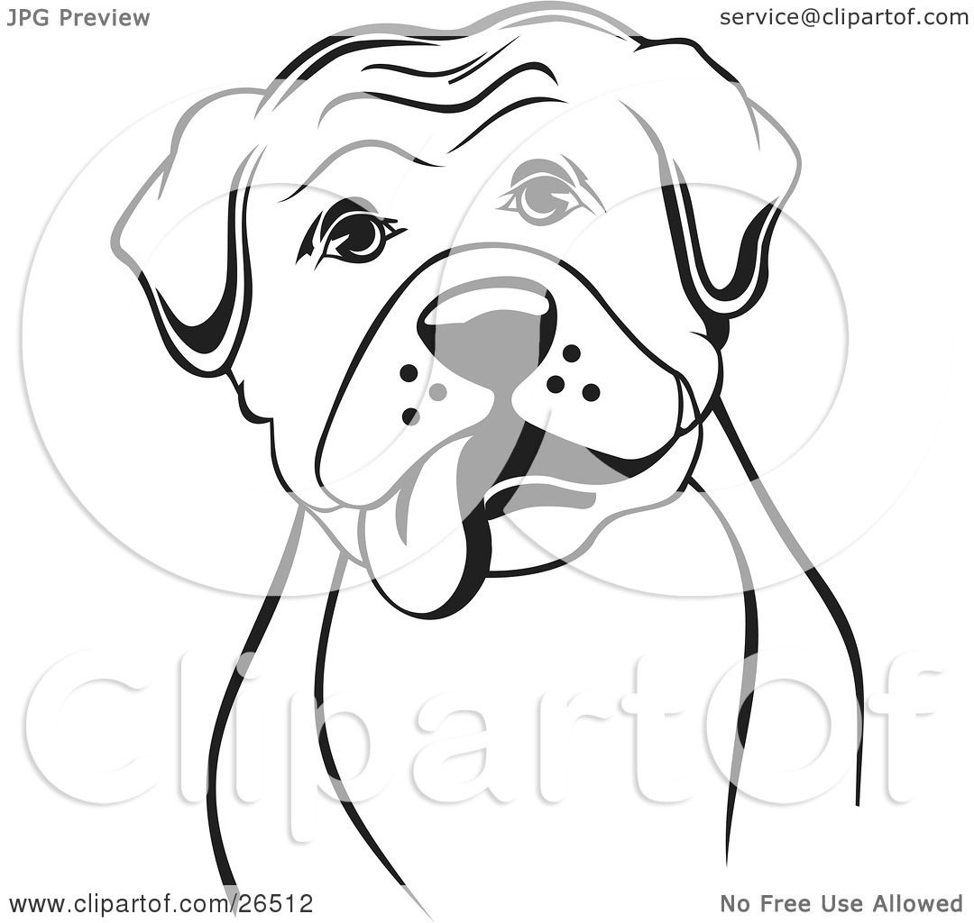 clipart illustration of a boxer dog with his tongue hanging out of