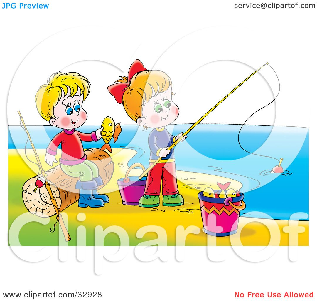 Clipart Illustration of a Boy And Girl Having Fun While ...
