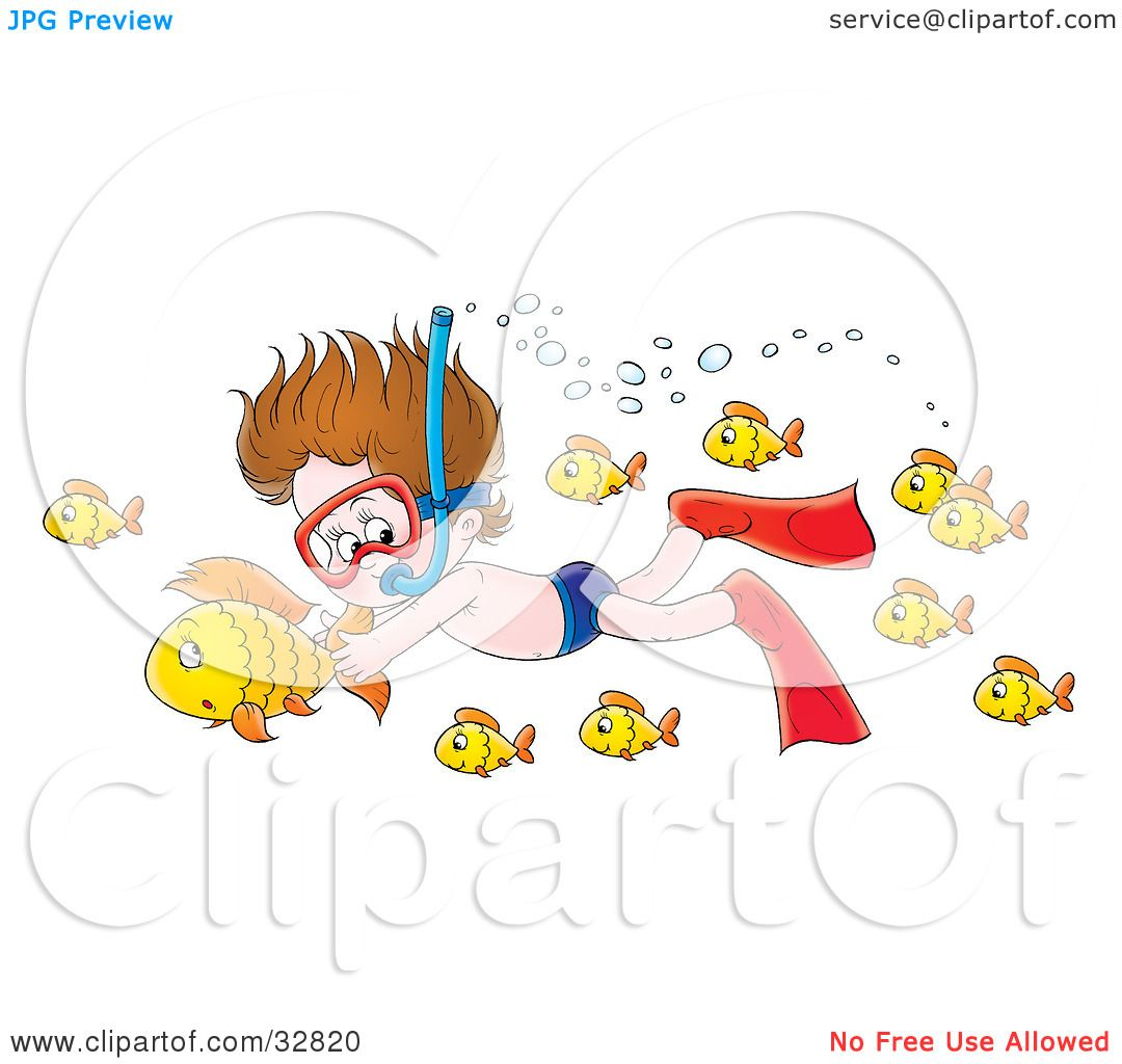 Clipart Illustration Of A Boy Snorkeling And Holding Onto