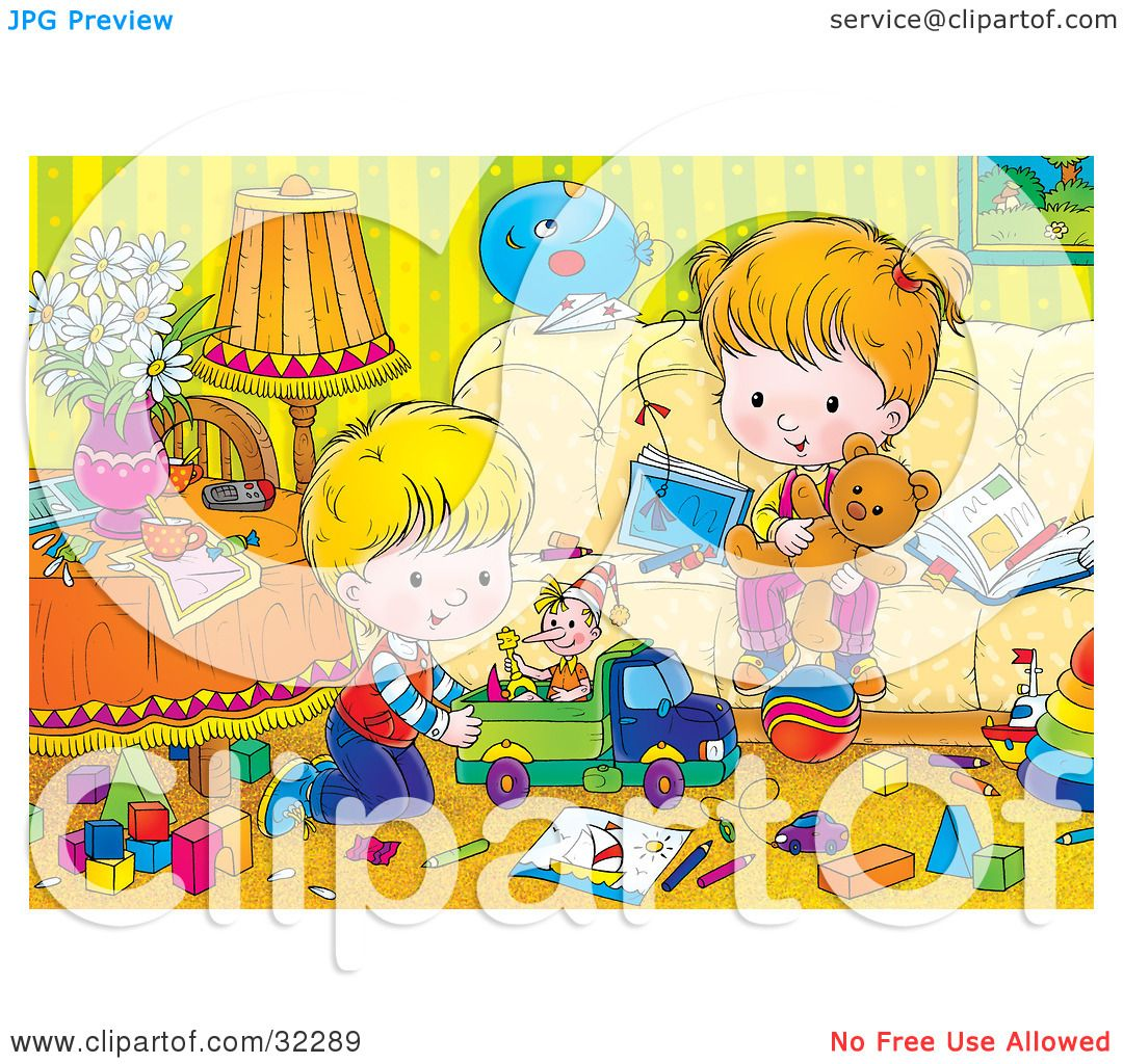 Clipart Illustration Of A Brother And Sister Playing With Toys In Messy Living Room By Alex Bannykh