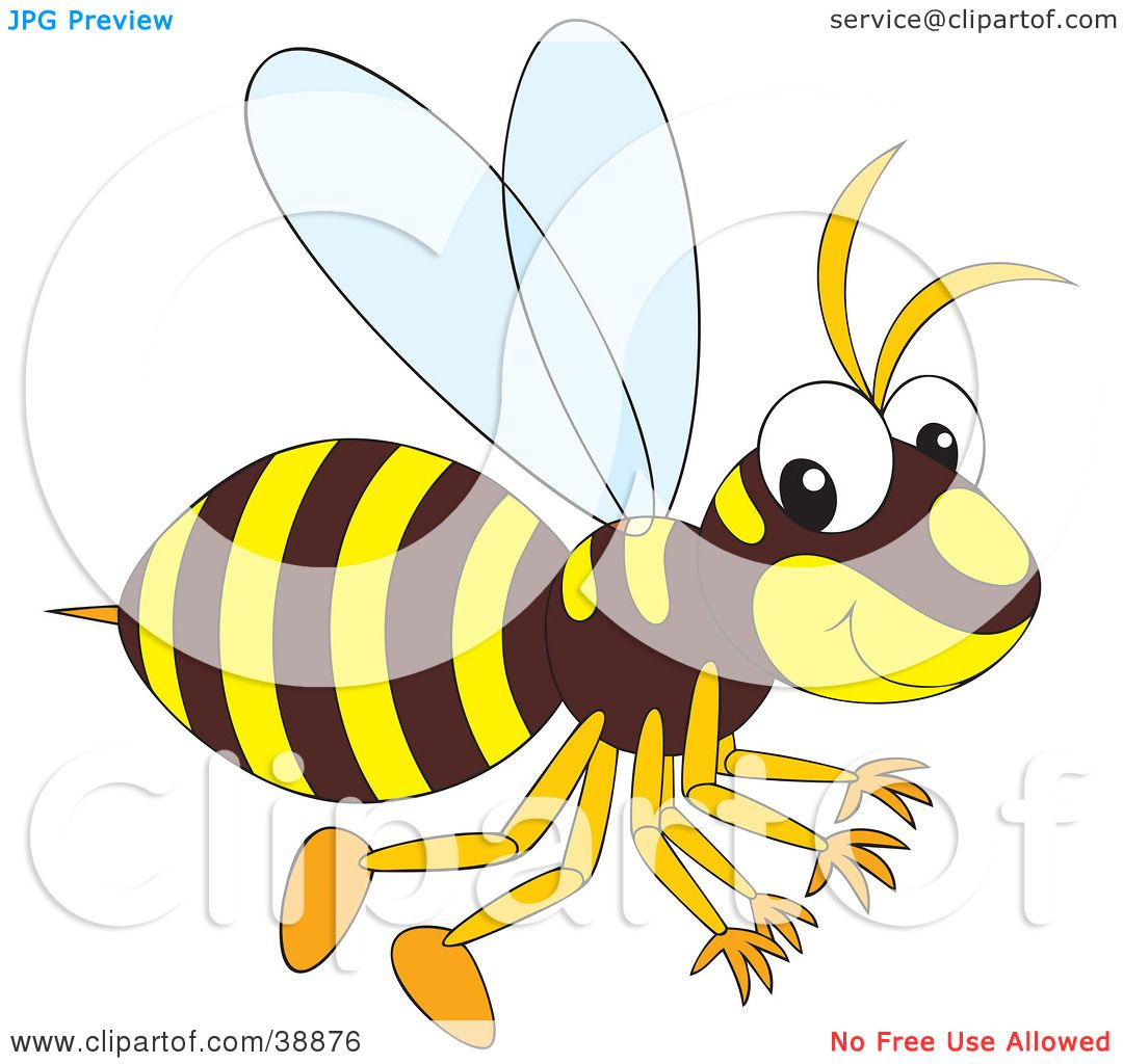 Clipart Illustration of a Brown and Yellow Hornet by Alex Bannykh ...