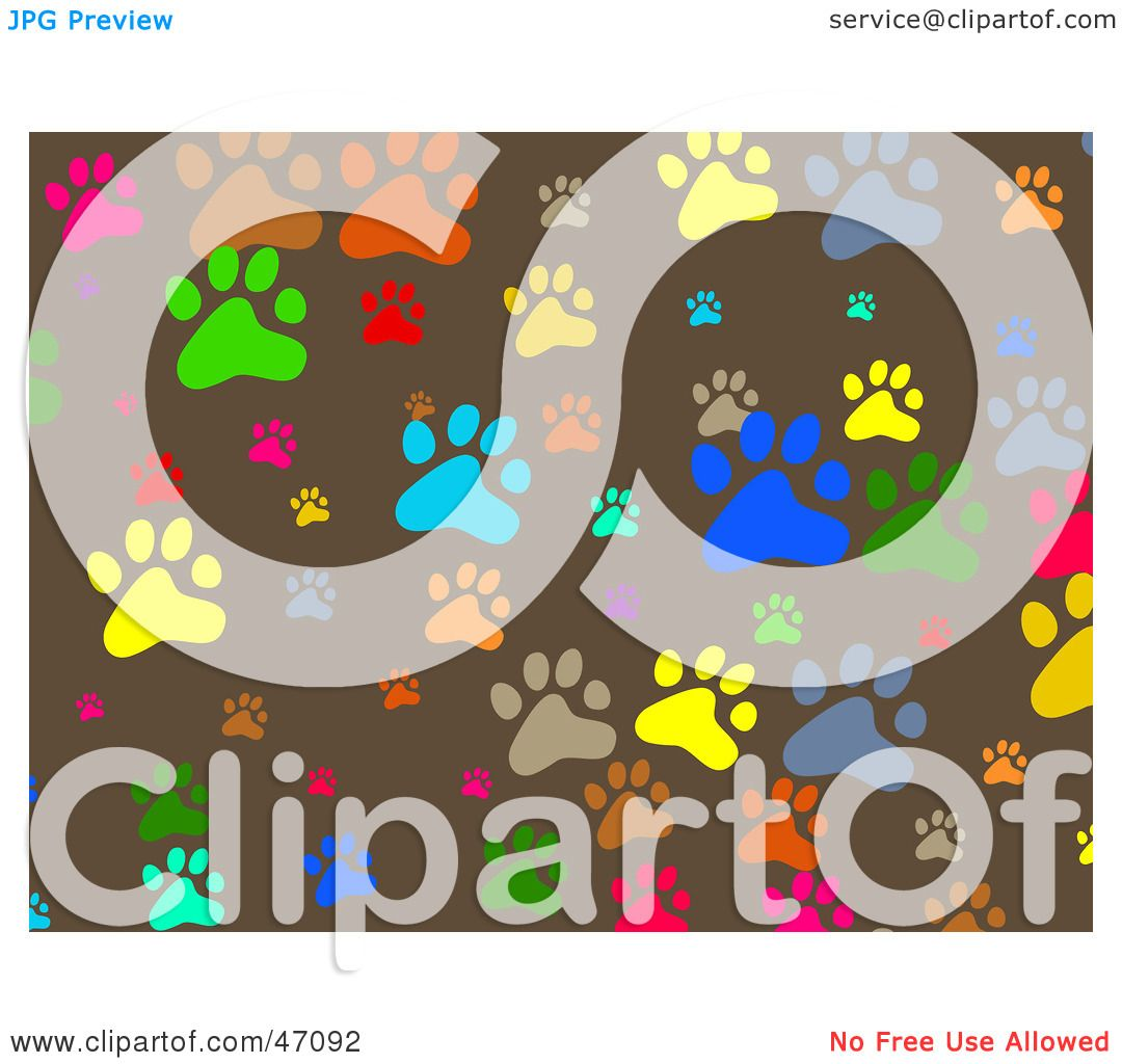 Clipart Illustration Of A Brown Background Of Colorful Paw