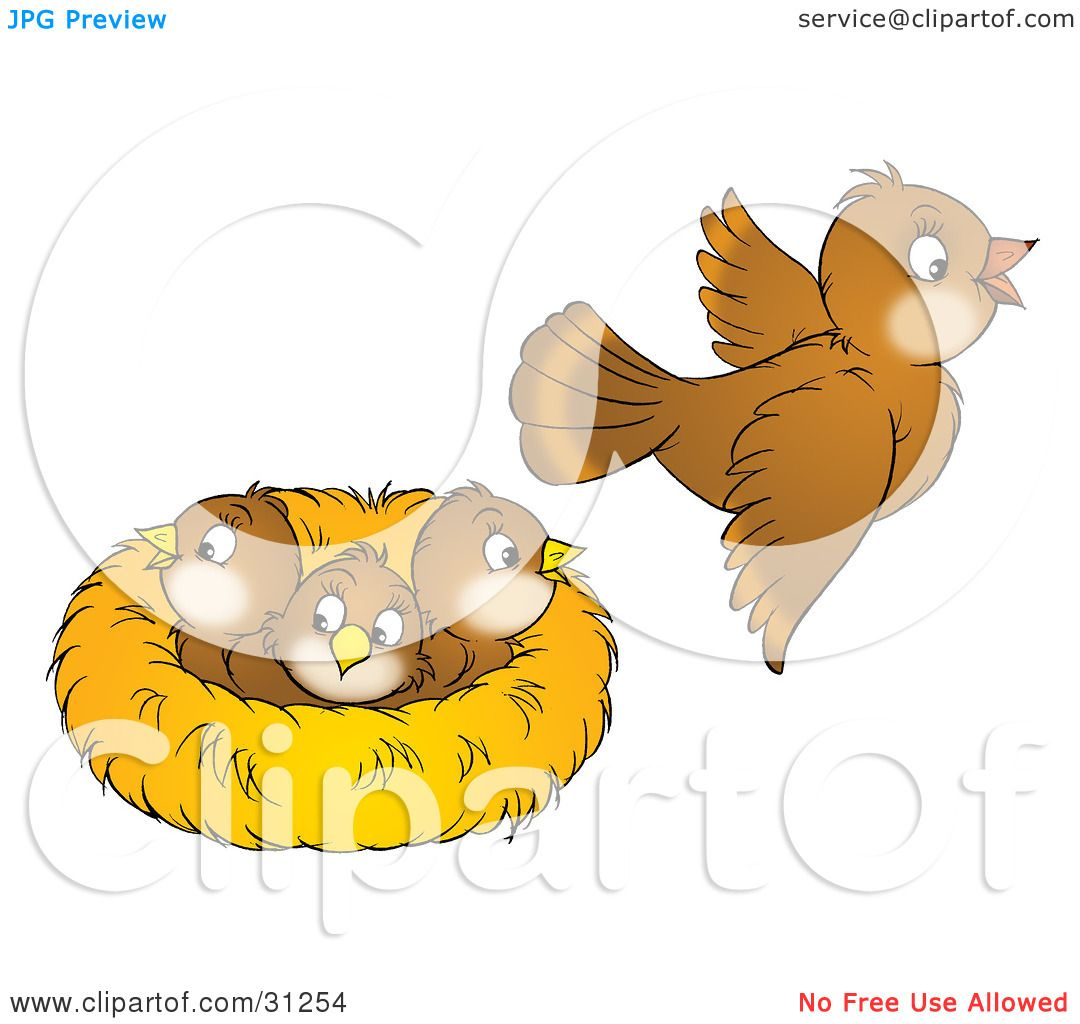 Clipart Illustration of a Brown Bird Flying Away From A ...