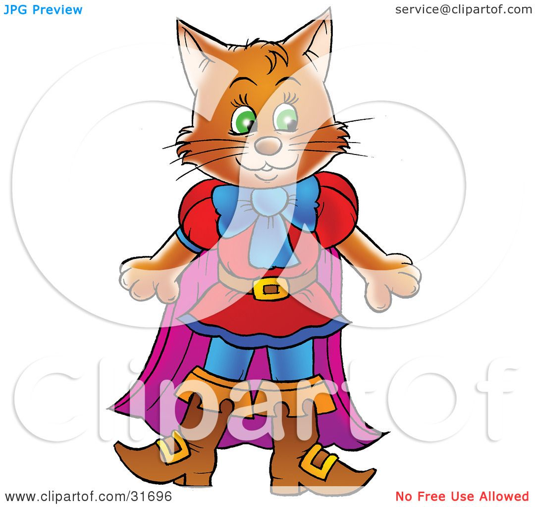 Clipart Illustration Of A Brown Cat In Clothes And Boots