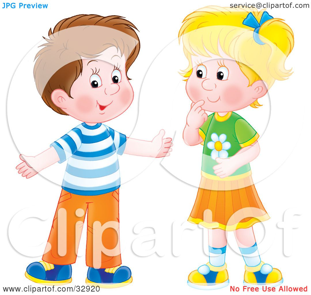 Clipart Illustration of a Brunette Boy Holding His Arms Out While