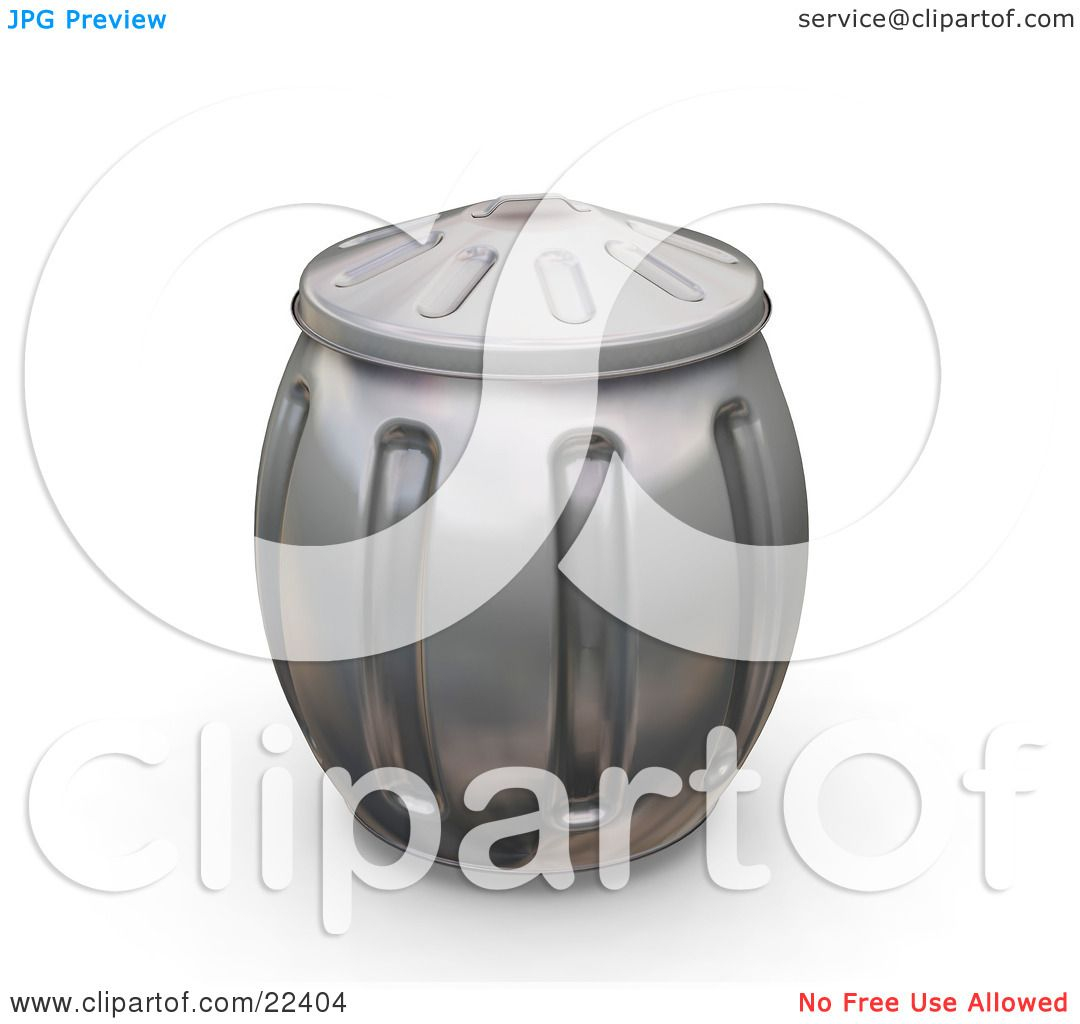 clipart of a bulging metal trash can with the lid on by kj pargeter