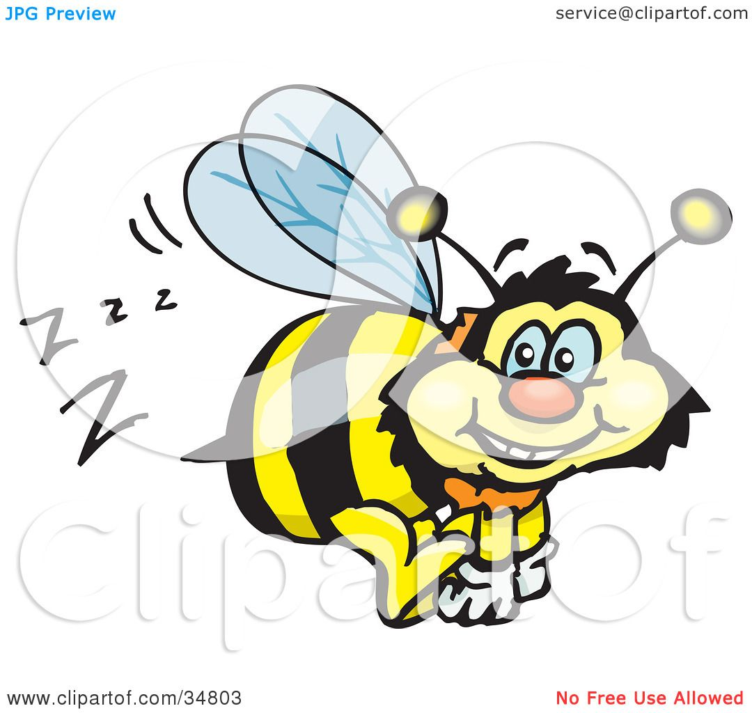 clipart illustration of a bumble bee character buzzing around