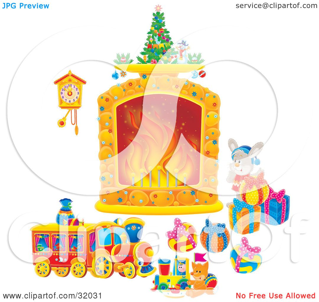 Christmas Toys Art : Clipart illustration of a bunny rabbit by toys and