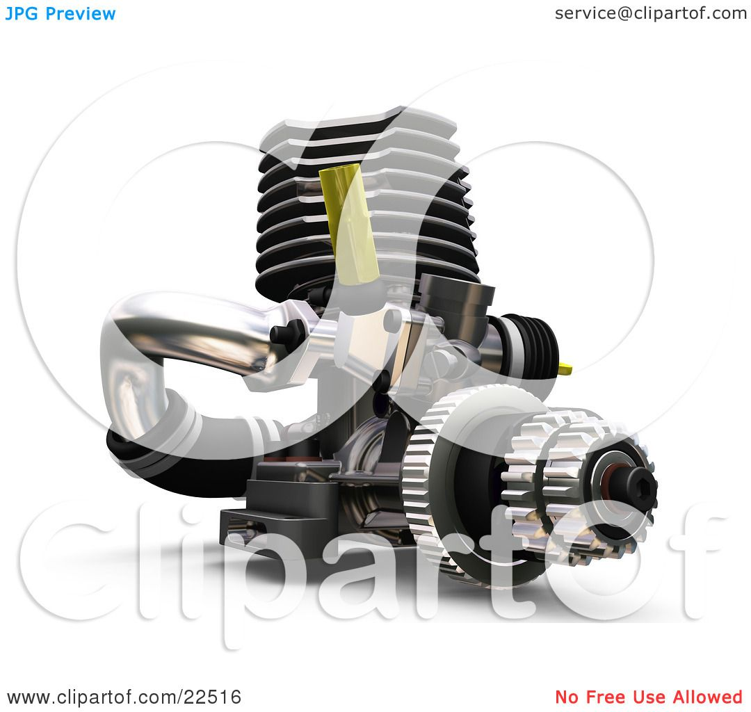 Clipart Illustration of a Car Engine With Black, Silver And Yellow ...