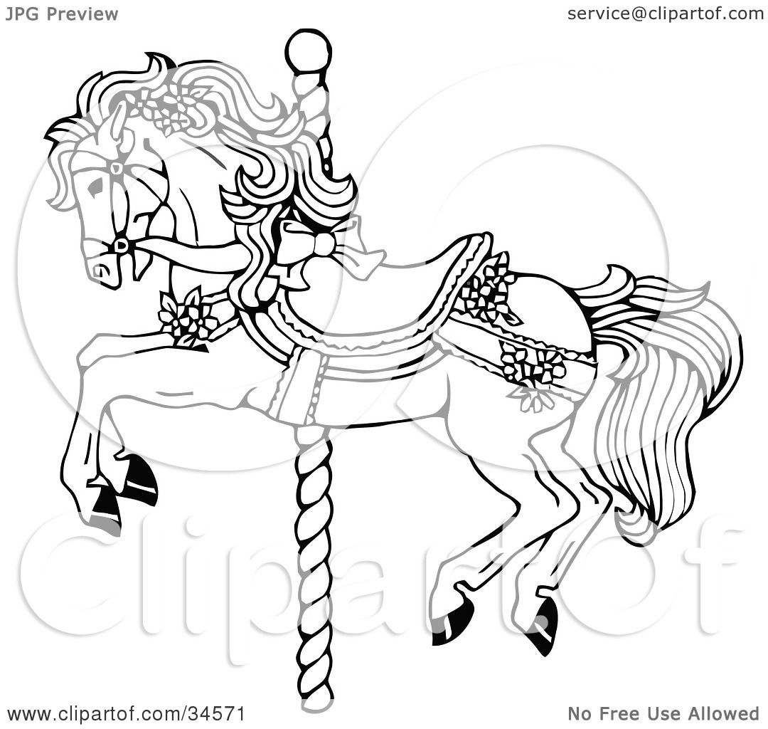 Clipart illustration of a carousel horse decorated in bows Carousel animals coloring book