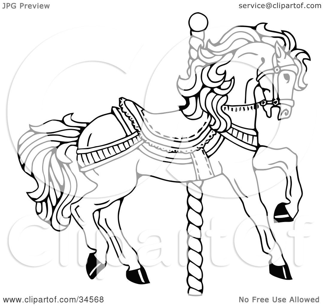 Clipart Illustration Of A Carousel Horse Facing Right On A Spiral Pole By C Charley Franzwa 34568