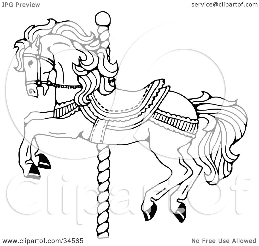 Clipart Illustration of a Carousel Horse On A Spiraling Pole by C