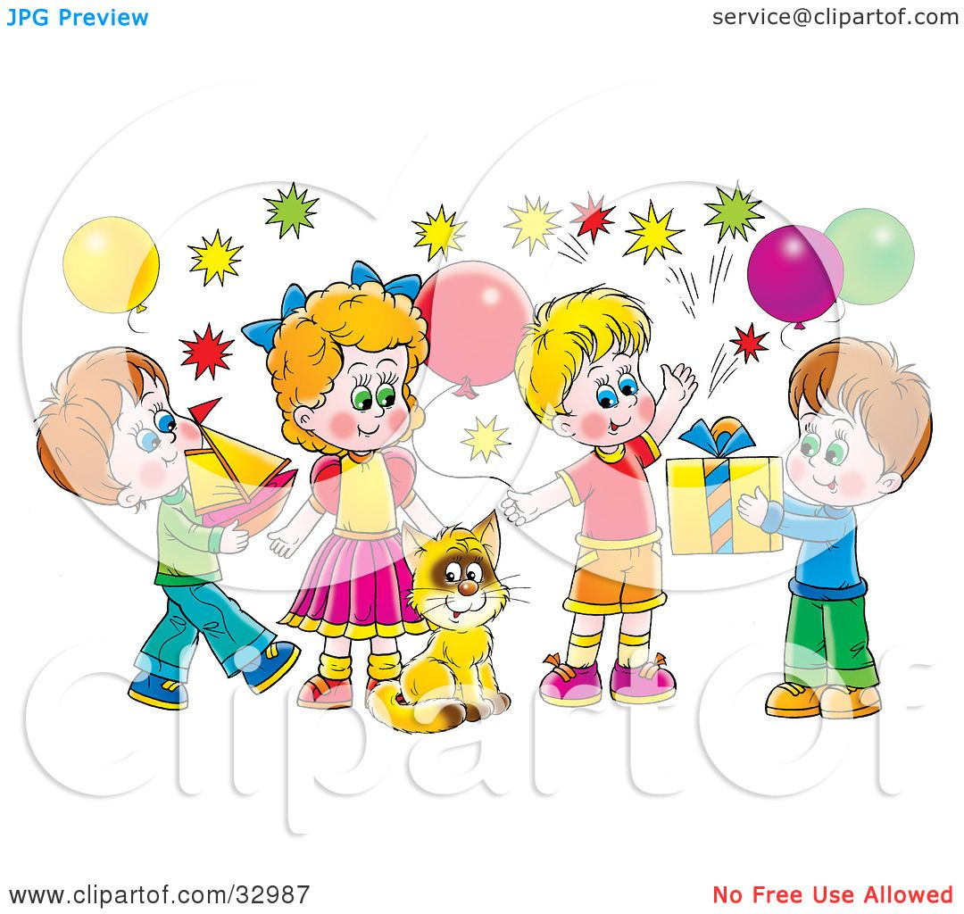 Clipart Illustration Of A Cat Surrounded By Children And